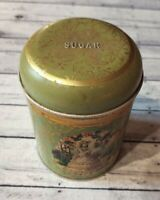 Vintage English Worcester Ware Sugar Tin Storage Canister Litho Scenes Victorian