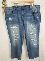 Lucky Brand Jeans Size 24W Distressed skinny stretch Womens Reese Boyfriend $99