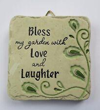 New listing b Bless my garden w/ love laughter Mini Plaque fairy garden stepping stone Ganz