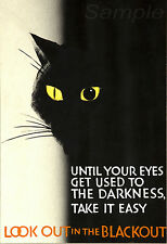 VINTAGE LOOK OUT IN THE BLACKOUT WAR POSTER A4 PRINT