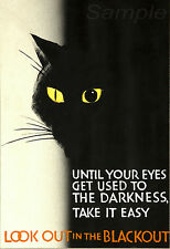 VINTAGE LOOK OUT IN THE BLACKOUT WAR POSTER A3 PRINT