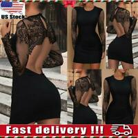 Women Backless Lace Long Sleeve Bodycon Dress Ladies Evening Party Club Dress US