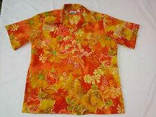 Vtg 60's hawaiian Aloha camp shirt Penneys Hippie Flowers Large psychadelic