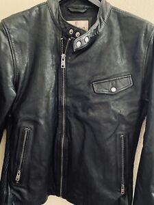 Wilsons Leather Men's Medium Jacket Motorcycle Vintage Biker Full Zip Black