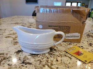Le Creuset NEW Stoneware Gravy Boat with Saucer  16Oz/0.4L White NIB