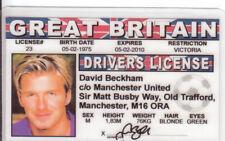 David Beckham of Manchester United Soccer fake Id i.d. card Drivers License