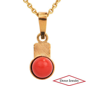 Antique Red Coral 18K Yellow Gold Small Dangle Bead Pendant NR