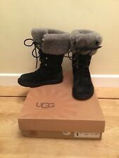 UGG MONTCLAIR BLACK LACE SHEEPSKIN BOOT Size 36 / 3.5 Boxed