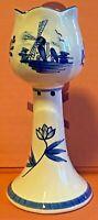 Porcelain-Delft Blue-Tulip Candlestick-Candle Holder-Handpainted-Holland-Vintage