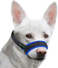 Medium Adjustable Dog Muzzle Fabric Nylon Breathable And Soft Anti-Biting Blue