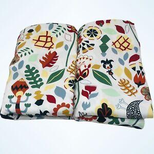 "IKEA Rodarv 2 Curtain Panels Swedish Folk Art RARE 57""x98"" Scandinavian Floral"