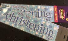 Boys Christening Banner -  Blue Foil - Can be split into 3 - Christening  2.6m