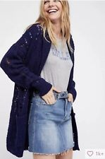 Free People Lemon Drop Hooded Cardigan Sweater Oversized Open Front Navy, M, NWT