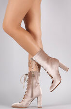 Taupe Lace Up Chunky Heel Mid-Calf Booties, US 10