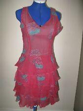 U ALLANAH HILL UK SIZE 8 DRESS RED MIX 100% SILK MADE IN AUSTRALIA BE MY GIRL