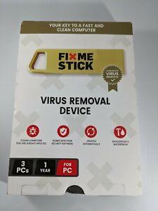FIX ME STICK FIXMESTICK VIRUS REMOVAL DEVICE PC 3 WINDOWS 1 YEAR NEW IN BOX