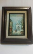Vintage Oil Painting of Paris Street Scene Unknown Artist.Signed  ANDREA?