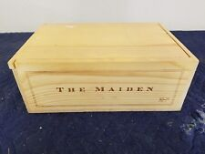 "The Maiden Wine Crate holds 2 btt size 5""x9""x13"""