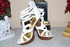 BEBE WHITE LEATHER HIGH HEEL STRAPPY PLATFORM PEEP TOE WOMEN'S SHOES SZ 6 M