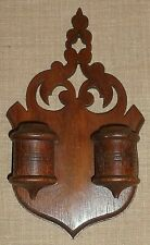 ANTIQUE~WALL MOUNT WOOD DOUBLE MATCH SAFE~VARIETY BRACKET WORKS, SOUTH BEND, IN