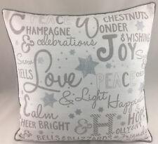 Novelty Christmas Theme on Cream Fabric FILLED Evans Lichfield Cushion