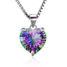 Heart Mystic Topaz 925 Sterling Silver for Women Jewelry Gemstone Pendant SP018
