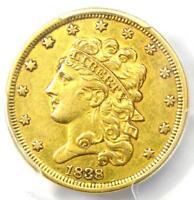 1838 Classic Gold Half Eagle $5 Coin - Certified PCGS AU Details - Rare!