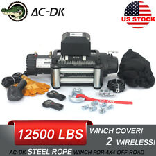 AC-DK 12V Electric Winch 12500lb Waterproof IP67 With Steel Rope and Winch Cover