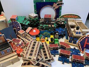 Melissa and Doug Puzzle World Wooden Train Track Lot 120+ Pieces Vintage Set