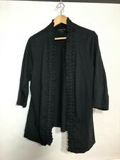 Coldwater Creek XL Cardigan Black Open Front Knit Ruffle Trim  16