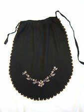 1930S VINTAGE COTTON APRON DRESS BLACK HALF WAIST EMBROIDERED FLOWERS DRJANOVO