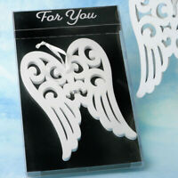 20-96 Heaven Sent White Wood Angel Wing Ornament Baptism Religious Wedding Favor