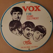 VINTAGE PORCELAIN 1964 GUITAR CENTER VOX FINE SOUND EQUIPMENT CALIFORNIA SIGN