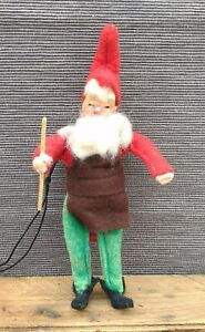 Santa Felted with Composition Head in Workshop Clothes Bendable Germany Vintage