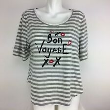 Newport News Womens Global Exclusive Short Sleeve Graphic Tee Sz XL Gray Striped