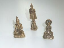 3 BEAUTIFULLY CAST SOLD BUDDHAS SOLID BRASS, TALL BUDDHA WITH ALMS BOWL etc