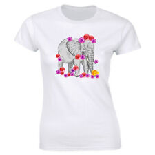 Elephant with Roses Printed T-Shirt for Women