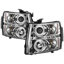 Spyder Projector Headlights LED Halo - Chrome for Silverado 1500/ 2500HD/ 3500HD