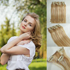 """CLIP In REMY REAL HUMAN HAIR EXTENSIONS 7PCS FULL HEAD 18COLORS 14-30"""" THIN New"""