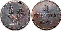 ALLEMAGNE  FRANCFORT 1 Judenpfenning monnaie de nécessité au coq 1822