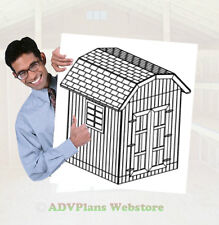 8X8 GAMBREL STORAGE SHED, 26 BACKYARD SHED PLANS, DIY, ADV PLANS WOOD SHEDS CD