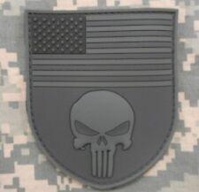 3D PVC RUBBER PUNISHER US FLAG SHIELD ACU DARK OPS VELCRO® BRAND FASTENER PATCH