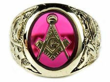 Men's 10k Solid Yellow Gold Masonic Ring 1.5 ct Ruby Band