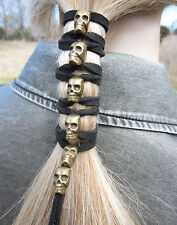 Gold SKULL Leather Hair Wraps Cuff Tie Ponytail Holders Bead Biker Goth Clothing