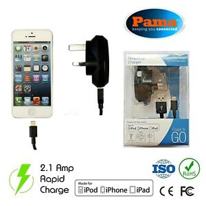 Pama Apple Lightning Mains Wall Charger For iPhone 6 7 8 X Quick Charge Data USB