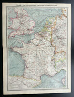 Antique Map Of France & Low Countries England Holland Communications 1903