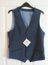 John Lewis Richard James Mayfair Wool Mohair Tonic Slim Waistcoat, Blue 38R