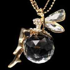 Beautiful Angel Fairy Wing Crystal Fairy Pendant Chain Necklace Dazzling Jewelry