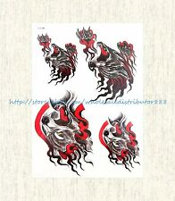 """US SELLER, fire wolf 8.25""""extra large temporary arm tattoo temporary body art"""