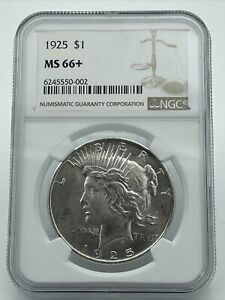 1925 NGC MS66+ Peace Silver Dollar Blast White Coin